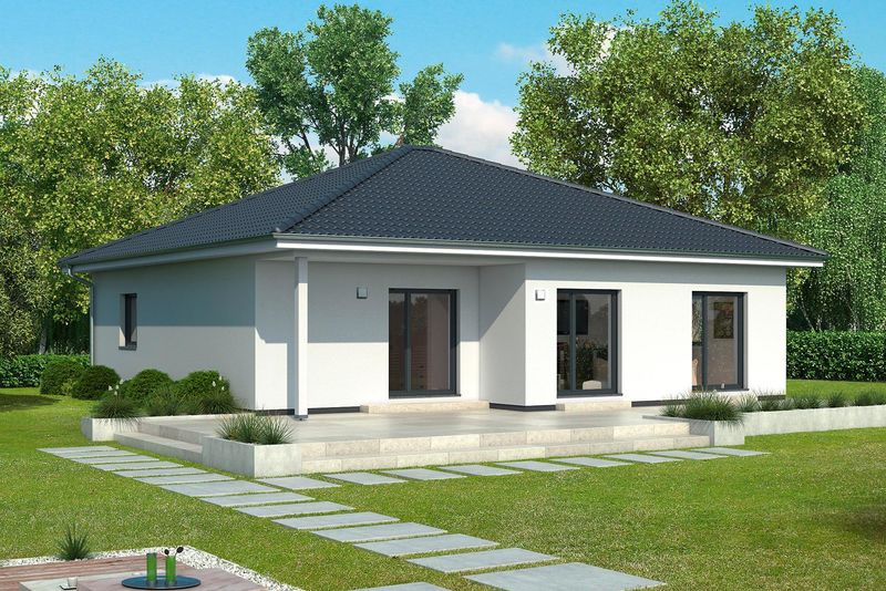 Gussek haus bungalows landh user fertigh user for Moderner bungalow mit satteldach