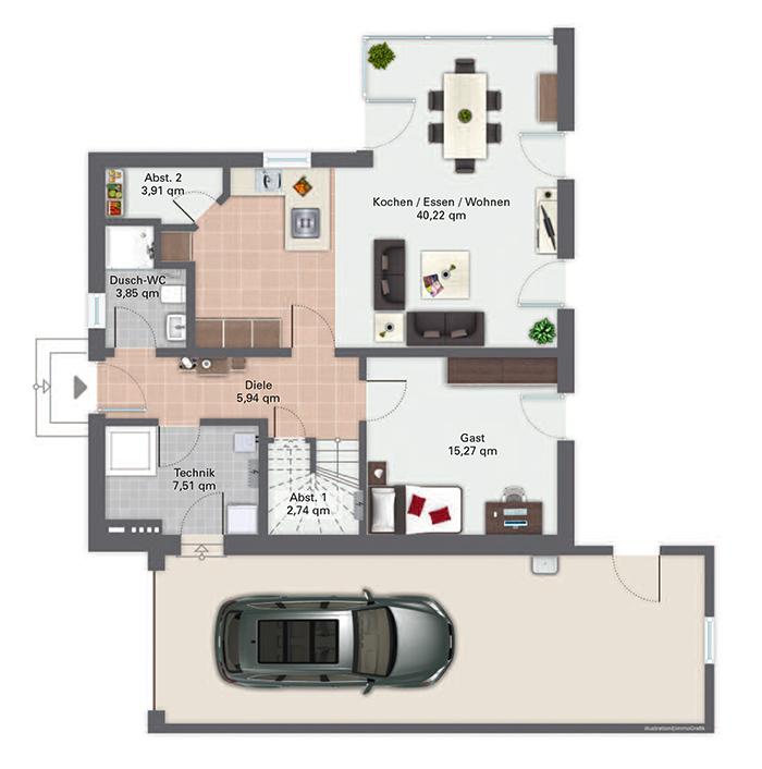kfw effizienzhaus 40 plus modell f rstenberg gussek haus. Black Bedroom Furniture Sets. Home Design Ideas