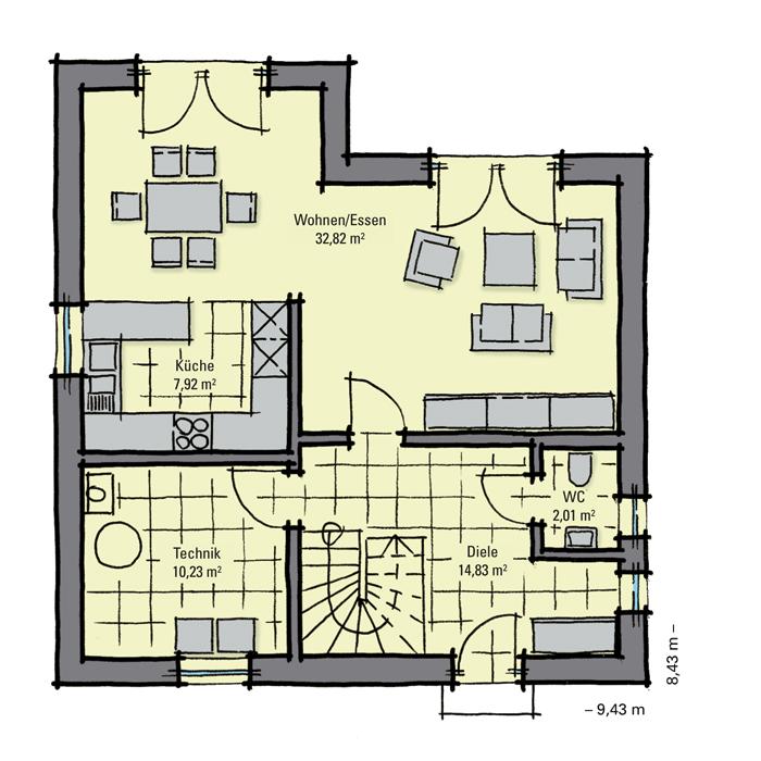 einfamilienhaus g nstig bauen kastanienallee v1. Black Bedroom Furniture Sets. Home Design Ideas