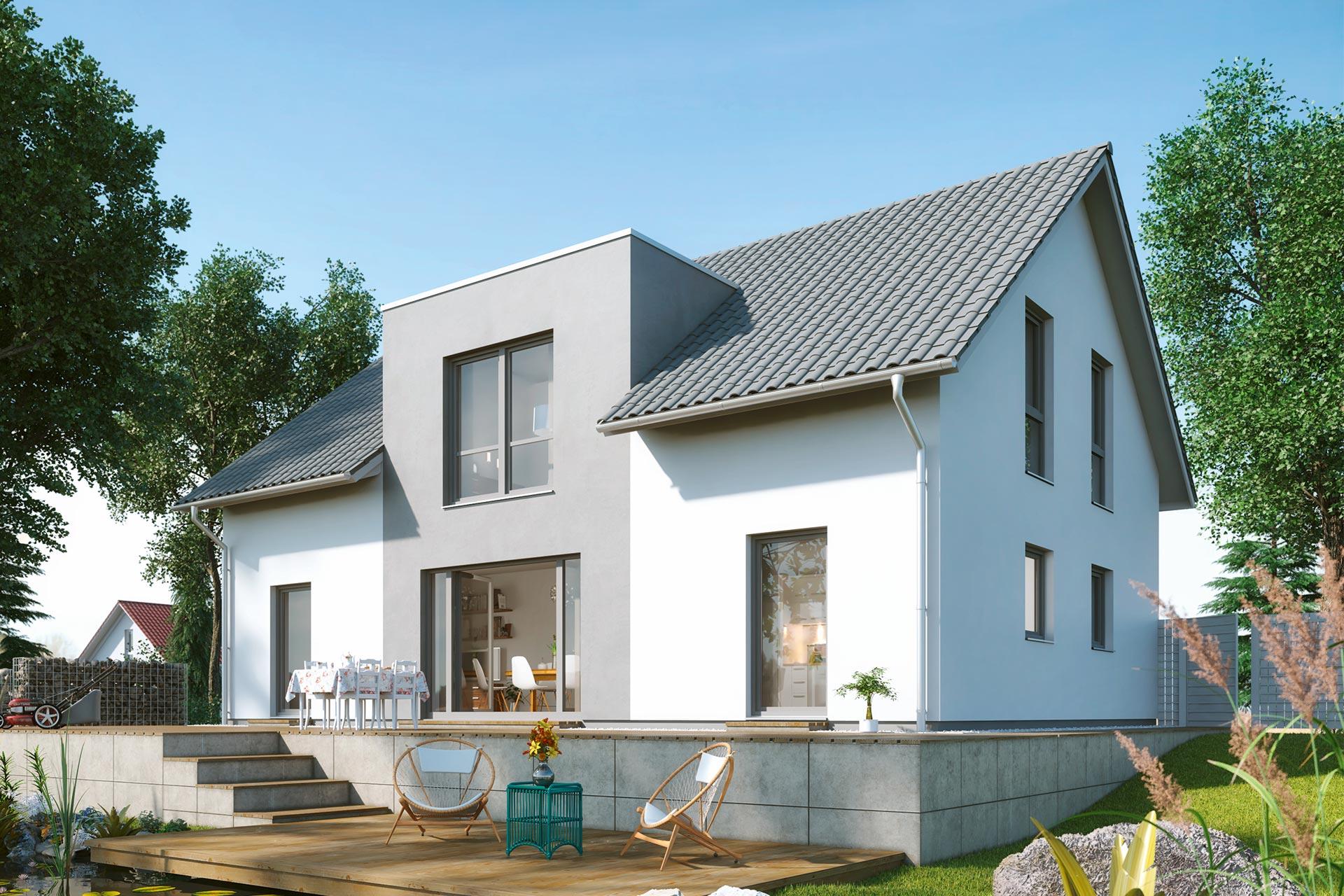 Einfamilienhaus guenstig bauen - Lindenallee - dominante ...