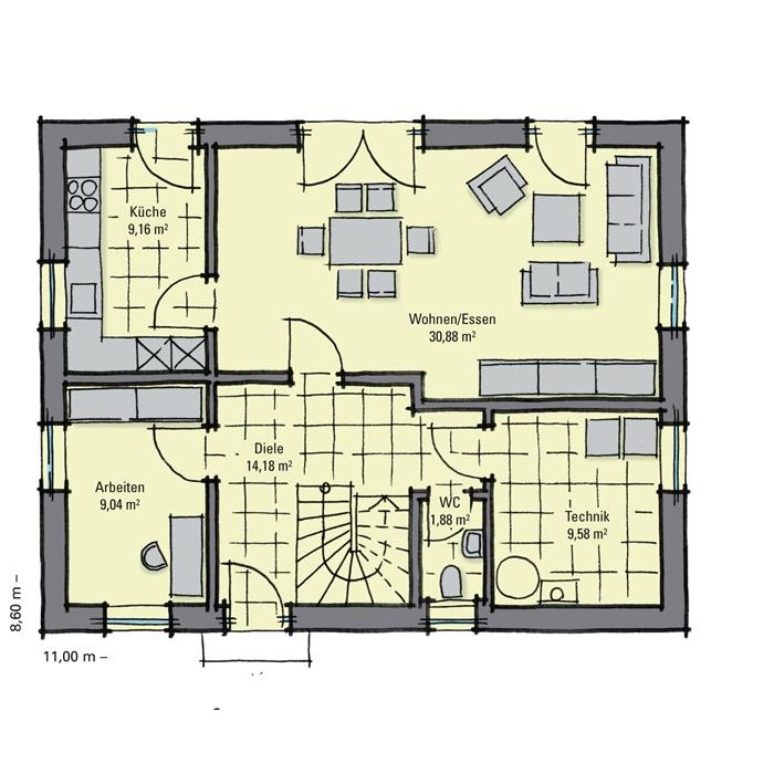 Einfamilienhaus guenstig bauen magnolienallee moderne for Optimaler grundriss einfamilienhaus