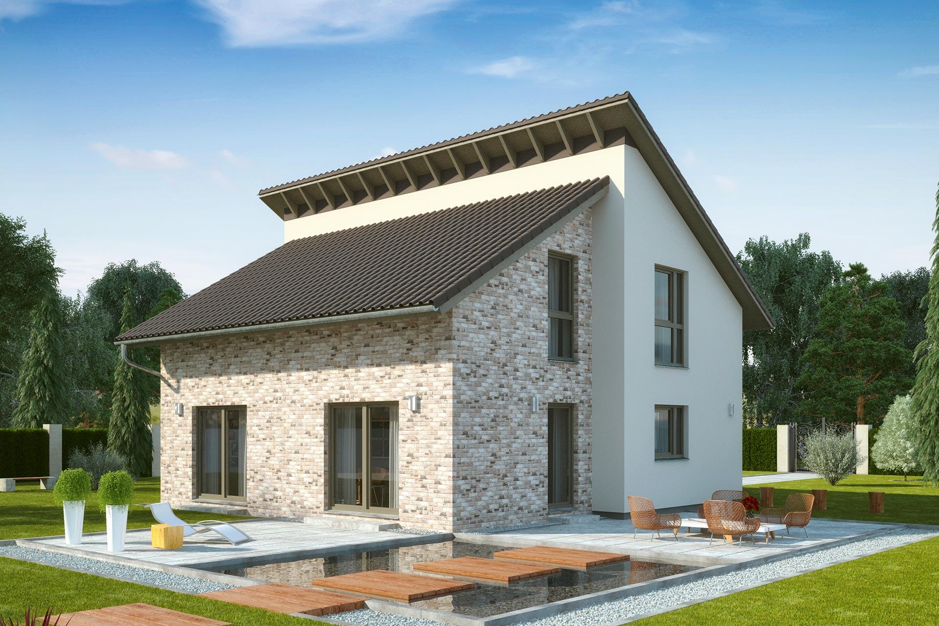 Einfamilienhaus guenstig bauen - Nussbaumallee - versetzte Baukörper ...