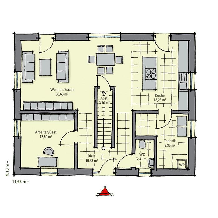 einfamilienhaus g nstig bauen modell weidenallee gussek haus. Black Bedroom Furniture Sets. Home Design Ideas