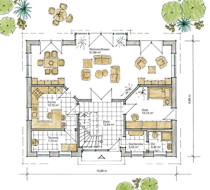 Luxushaus br hl ein fertighaus von gussek haus for Grundriss luxushaus