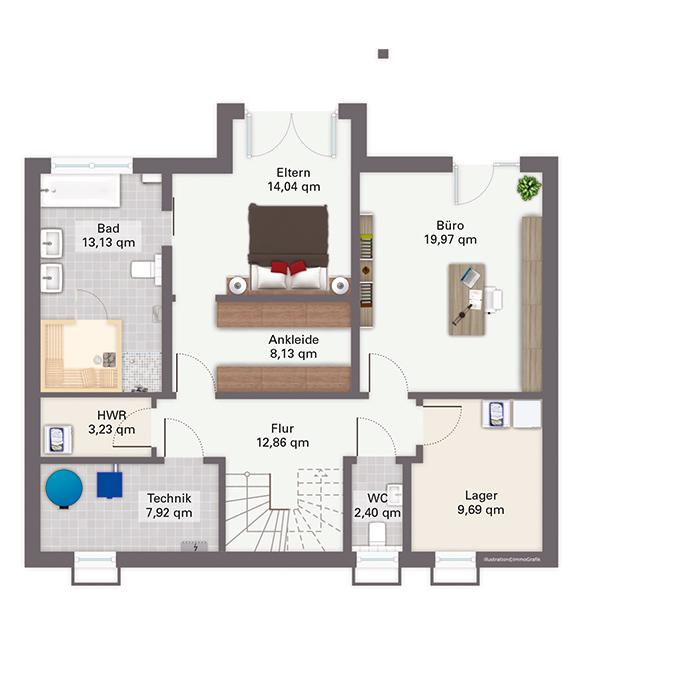 Modell babelsberg exklusives einfamilienhaus in hanglage for Grundriss luxushaus