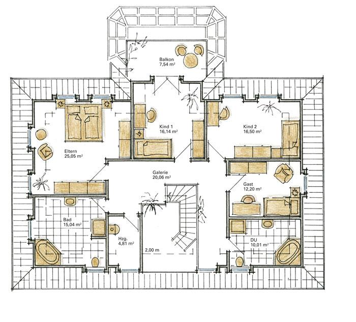 Luxushaus grunewald ein fertighaus von gussek haus for Grundriss luxushaus