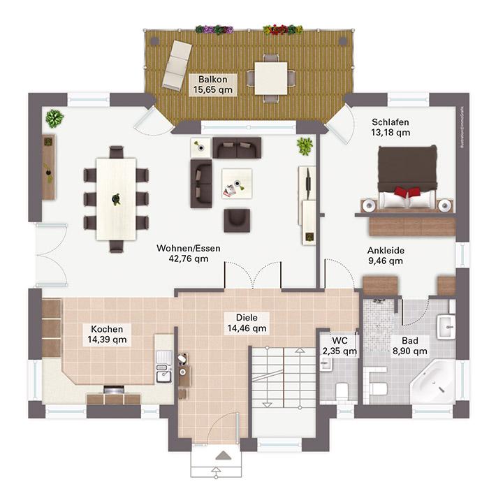 Modell hellerberge exklusives fertighaus in hanglage for Grundriss luxushaus