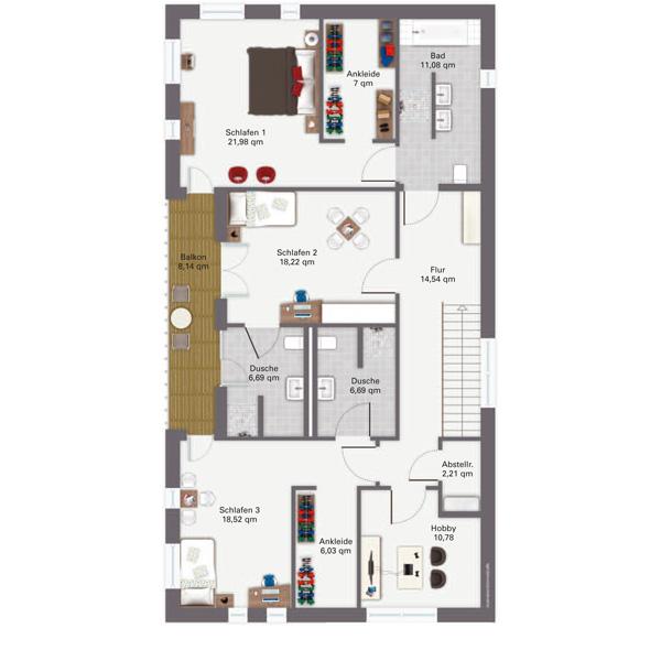 Modernes fertighaus mit zeitgem er dunkler klinker for Grundriss luxushaus