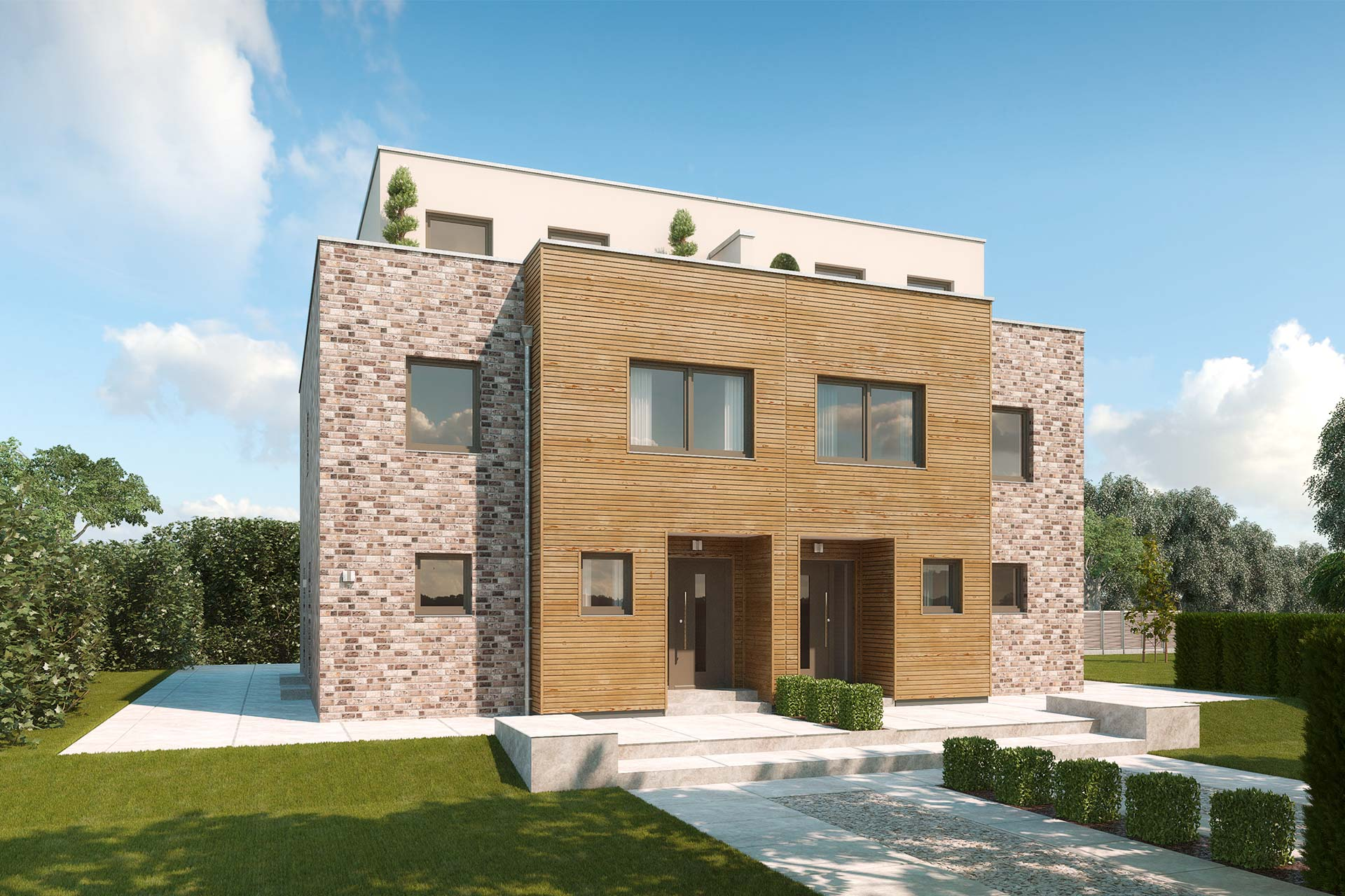 Doppelhaus mit 3 etagen penthouse etage mit for Modernes haus 2 etagen
