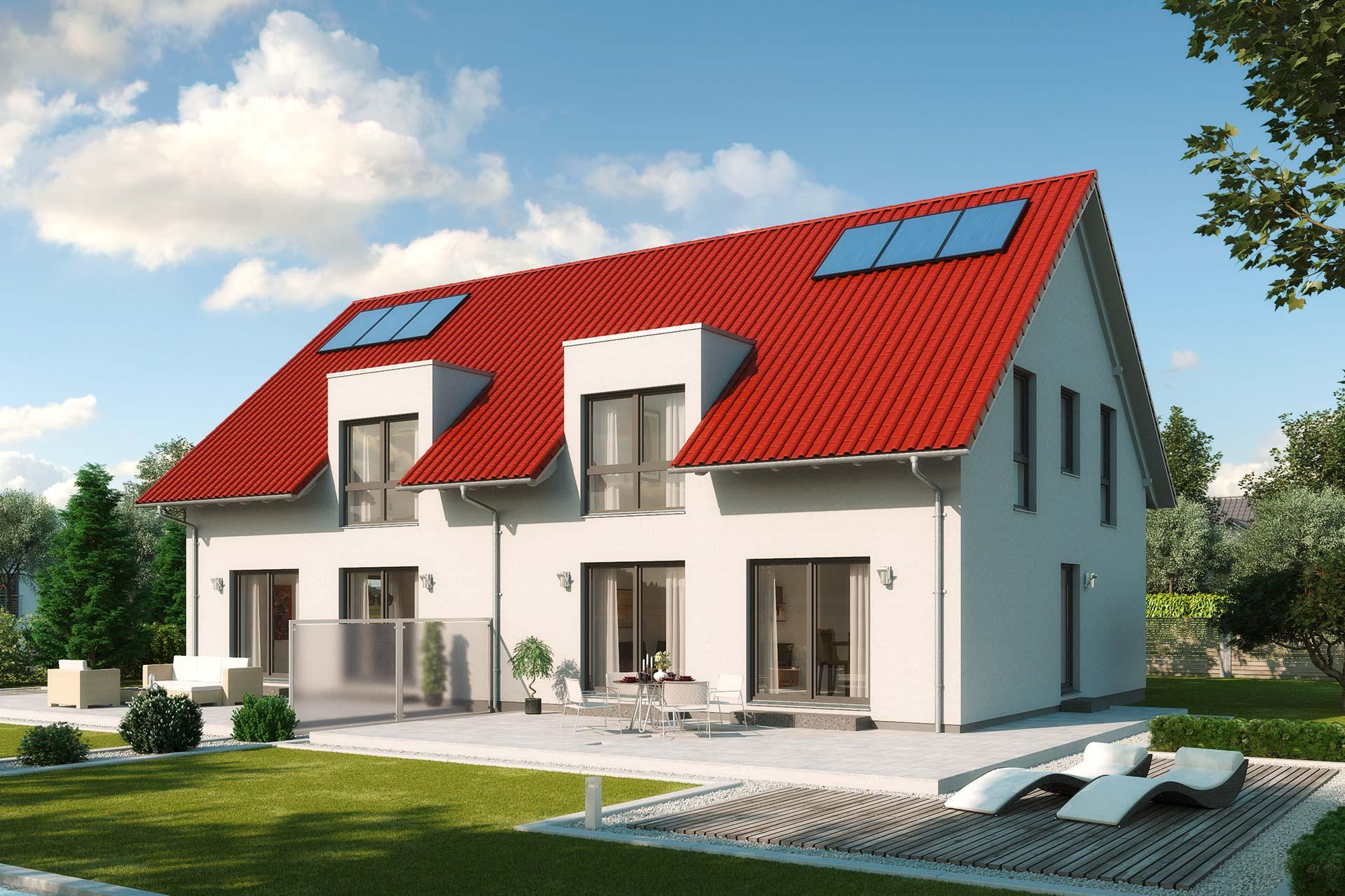Fertighaus doppelhaus mit zwei wohneinheiten gussek haus for Bilder doppelhaus