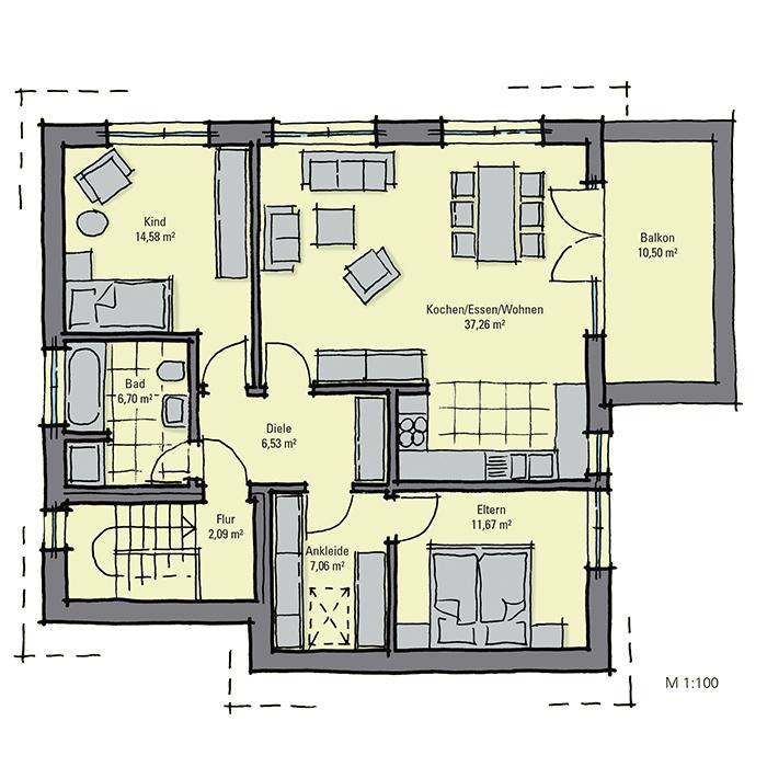 Ansprechendes zweifamilienhaus mit giebelseitigem erker for Zweifamilienhaus grundriss fertighaus