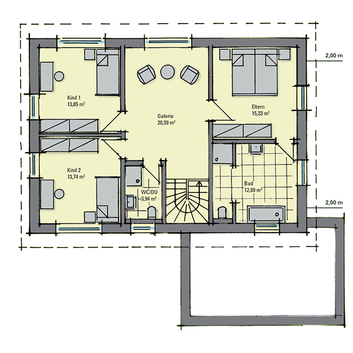 Musterhaus melanie dresden ein fertighaus von gussek for Zweifamilienhaus grundriss fertighaus