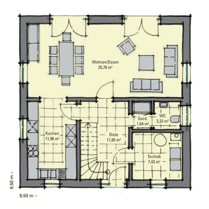 stadthaus fulham kompakter grundriss zwei vollgeschosse gussek haus. Black Bedroom Furniture Sets. Home Design Ideas