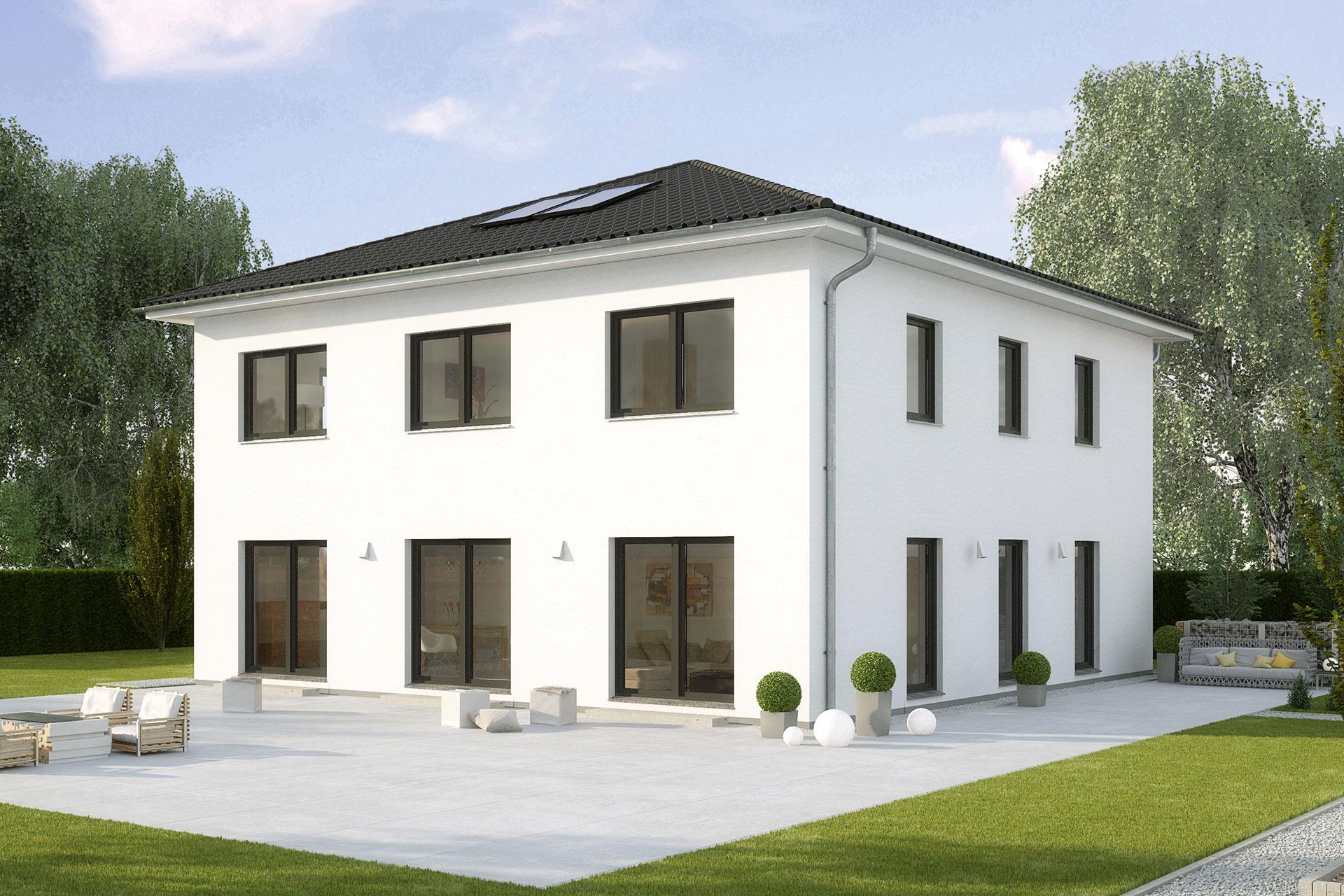 stadthaus la finca fertighaus mit kompaktem xxl. Black Bedroom Furniture Sets. Home Design Ideas